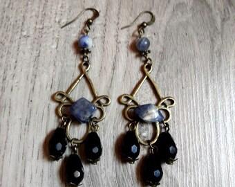 Earrings dangling original Sodalia, Crystal, sodalite, Pearl semi precious, pagan, stones rolled,