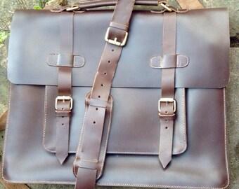 """Leather Messenger Bag, Briefcase, 15"""" Laptop Bag For Men, Gifts for Him"""