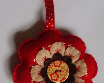 Hand stitched felt flower door hanger