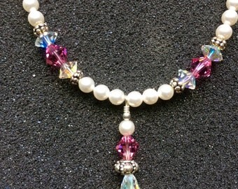 Pearl and Swarovski Crystal Necklace and Earring Set