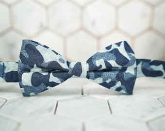 Denim Blue Camo Bow Tie. Mens Camo Bowtie. Camouflage denim bowties. Dear Martian, Brooklyn Bow ties. Accessories gift shop.