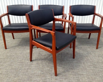 Vintage Danish Modern Mid Century Teak Armchairs - Set of 4