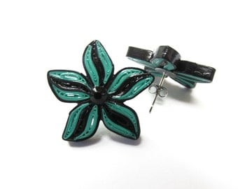 Quilled Earrings, Quilled Studs, Quilled Flowers, Quilled Jewellery, Gifts for Her, Black & Green Earrings, Stud Earrings, Rockabilly Studs