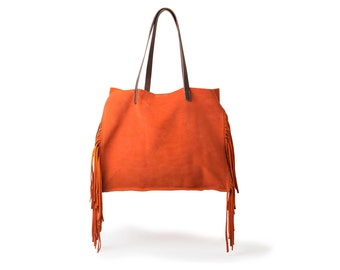 Orange Leather Bag, Tote boho bag, Gipsy Boho bag, Women, Boho bag leather, Handmade