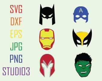 Iron Man Hulk Captain America Batman Wolverine Magneto Hero SVG Files,Svg,Dxf,Eps,Studio 3,Silhouette Studio,Cricut Files,Cutting Files