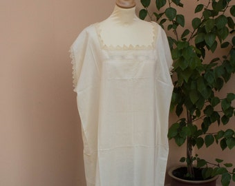 Vintage Cotton Nightgown, Antique, 1910's, Hand Embroidered, Lace