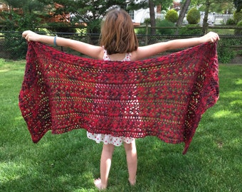 "Hand-Knit Lace Shawl // Organic Cotton Yarn // Reds and Browns // 22"" W x 56"" L"