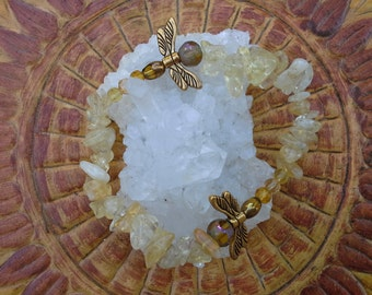 Citrine dragonfly bracelet
