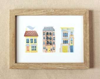 Illustrated Tiny Homes Giclée Art Print