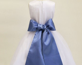 Buy 1 Get 1 Free Designer US Angels- PERRI-BLUE   Satin Tapered Flower Girl Dress Sash