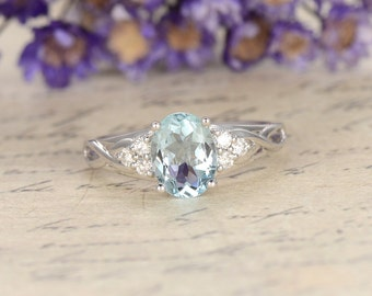 Aquamarine engagement ring diamond ring,Solid 14k White gold promise ring for her,6x8mm oval bridal ring custom made fine jewelry,Pave set