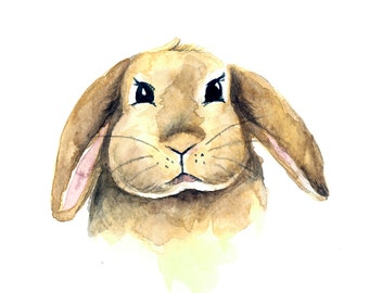 Bunny Watercolor Print