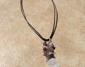 Druzy moonstone amethyst necklace