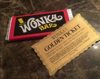 Willy Wonka And The Chocolate Factory Replica Wonka Bar and Golden Ticket