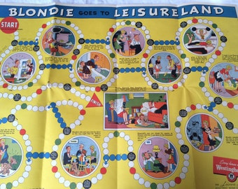 Blondie Goes to Leisureland Westinghouse Board Game, Dagwood, Daisy, Baby Dumpling 1940's