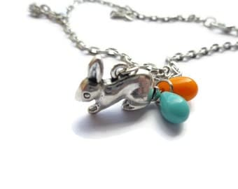 Rabbit Necklace, Silver Rabbit Necklace, Glass Bead, Czech Bead, Rabbit Jewelry, Rabbit Necklace RN21