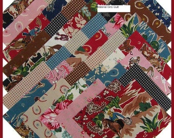"""RAWHIDE CHARM SQUARES - Moda Fabrics (42) 5"""" x 5"""" squares Cowboy, Western, Country Horses, Horse Shoes & Boots, Pre-Cut Fabric Charm Squares"""