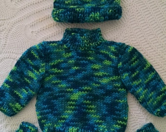 American Girl doll sweater set in variegated green and blue yarn