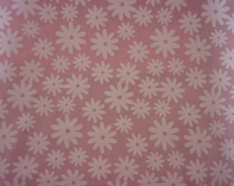 Printed White FOWERS poly cotton BABY PINK cushion covers in all sizes Make to order