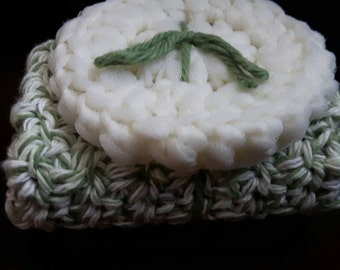 Cotton Washcloth & Nylon Dish Scrubbie