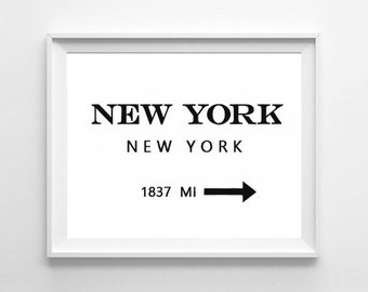 Poster poster new york, NY, in the marfa style 1837 MI, feminine decoration for the House.