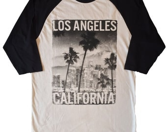 Los Angeles California Men's Baseball 3/4 Sleeve Tee New
