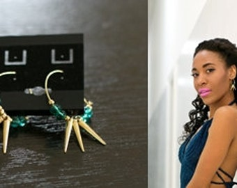 Green and Gold Spiked Hoop Earrings