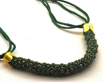 Green Spiral Necklace of Crystals and Sand Beads