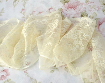 """4 YARDS - 4.75"""" Wide Pale Light Butter Yellow Vintage Floral Lace Trim"""