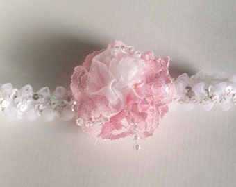 Lace and Pearls Baby Girl Headband