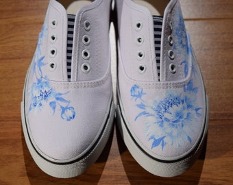 Shoes Hand-painted Blue Flowers  Wearable Art