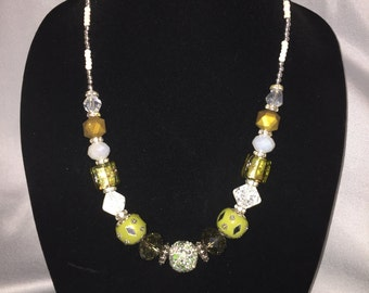 Green and White Fancy beaded necklace