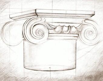 Original drawing, capital wall art, column, academic drawing, graphics, realistic pencil drawing, sculptural sketch,architectural drawing