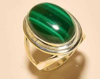Ring Silver 925 stone Malachite true size: 52