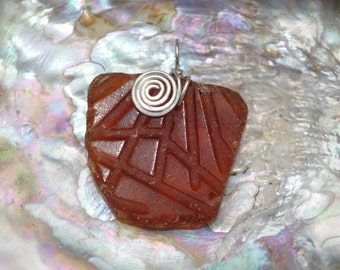 Brown Seaglass with lines