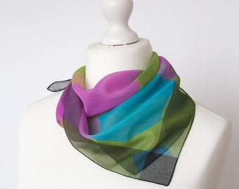 "Small vintage scarf, retro square scarf, poly fabric women scarf shawl bandana kerchief 50x50cm / 20x20"" circles olive pink"