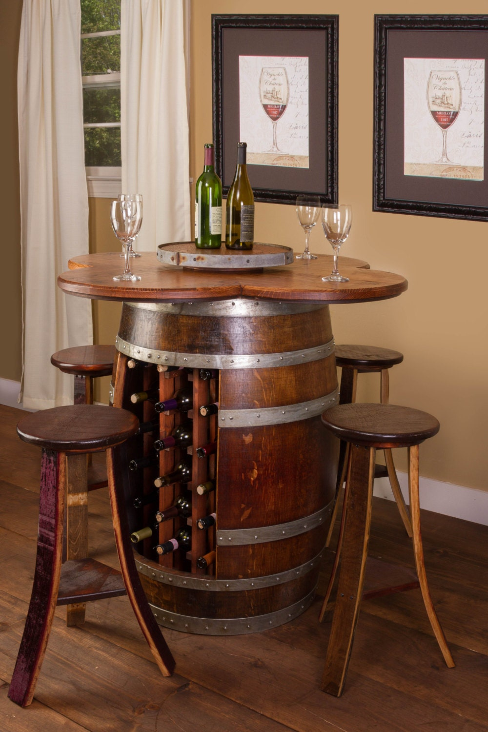 1002 wine barrel table set with wine rack barrel base. Black Bedroom Furniture Sets. Home Design Ideas