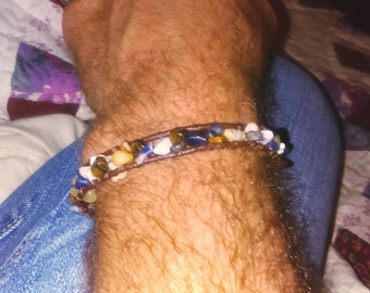 Mens leather cord stone bracelet