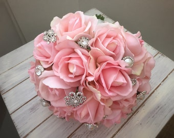 Pink/Blush Rose Wedding Bouquet with Real Touch Roses and Brooches