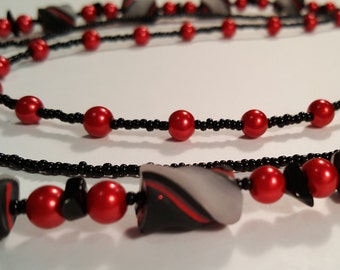Red & Black Handmade Bead Tri-Stand Necklace