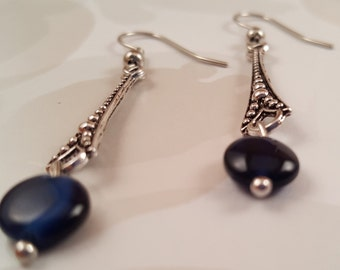 Slender Silver Pendant Earrings with Navy Blue Beads
