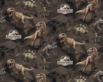 "Universal Pictures Movie - Jurassic Park Dinosaur Terrain 100% cotton fabric by the yard 36""x43"" (SC6)"