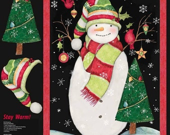 "Christmas Fabric Panel - Stay Warm snowman fabric Tossed 100% cotton Fabric by the PANEL 35""x43"" (H31)"
