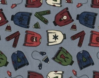 """Winter Fabric: Tinsel Town by Dear Stella Sweaters Fabric 308 Gray 100% cotton Fabric by the yard 36""""x43"""" (K12)"""