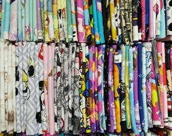 Cartoon Fat Quarter Bundle: Beautiful Lot of 8 Fat quarters No Duplicates - Disney, Nickelodeon, ,Nintendo, Marvel 100% Cotton Quilt Fabric
