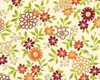 """Floral Fabric: Salsa Flowers Orange by Quilting Treasures  100% cotton Fabric By the Yard 36""""x43"""" (P62)"""