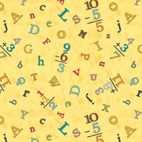 Nursery fabric sunshine zoo kids mathematic alphabets for Yellow nursery fabric