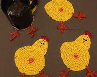 Chicken Butt Coasters- novelty coasters- set of Four