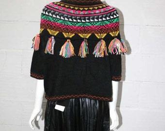 70's Style Sweater With Rainbow Fringe