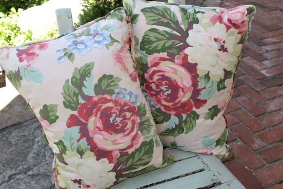 Vintage Pink Floral Cabbage Rose Barkclothe Pillow